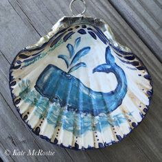 Shell ornament | kate mcrostie |handpainted| one of a kind| whale ornament |Christmas ornament | shell art | scallop shell | coastal ornamen