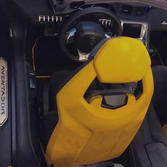 lamborghini aventador black grey and yellow interior seat backs