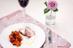 Svinefilet, ratatoui og parmesansaus