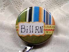 striped green,blue and brown id badge holder for nurse,badge reel for male…