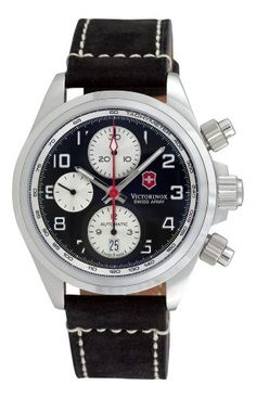Swiss Army Chrono Pro Leather Strap Mens Watch 241187 Vic...