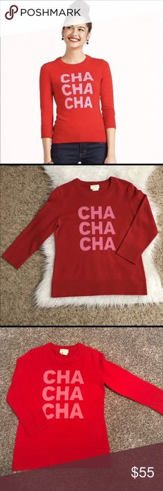 Kate Spade ♠️ Super cute and chic Kate Spade ♠️ red sweater (Cha cha cha )  size xs 90% cashmere 10% wool super cute and like new condition no flaws kate spade Sweaters Crew & Scoop Necks