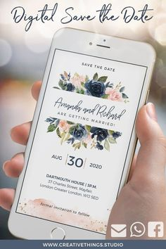 Electronic Wedding Invitations Electronic Invitations Whatsapp Wedding Invitation Save the Date Marriage Invitations Blush Navy Gold Electronic Wedding Invitations, Wedding Invitation Video, Beautiful Wedding Invitations, Bridal Shower Invitations, Invites Wedding, Wedding Wishes, Save The Date Invitations, Digital Invitations, Electronic Save The Date