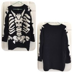 ASOS Hyoma SKELETON oversized sweater Worn once,very warm, also fits xs,❌NO TRADE‼️ ASOS Sweaters