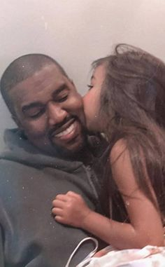 Kim Kardashian Captures the Sweetest Moment of North West Kissing Kanye West Kanye West North West, North West Saint West, Kanye West Smiling, Teen And Dad, Cute Mixed Babies, Gangster, Kardashian Jenner, Kris Jenner, Neutral