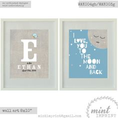 2x Wall Art Prints for boys I Love You to the Moon by MintImprint, $17.00