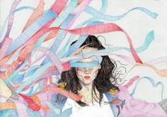 Illustrative Festival Berlin 2013. Illustartion. Girl in ribbons. Colored pencils