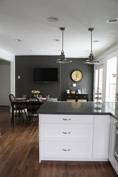White Cabinets Gray Counters Wood Floors But I Would Add A Color On The Wall And Back Splash With Little Too