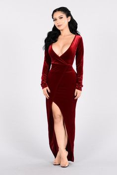Burning Heart Dress - Wine