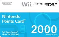 Nintendo 2000 Points Card (DSi or Wii)