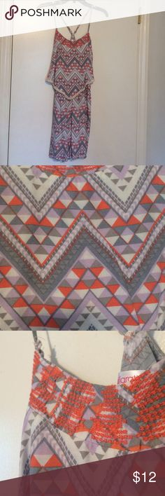 Size medium romper Tribal colored romper, size medium from target. Worn 1 time. Straps are adjustable. Xhilaration Dresses