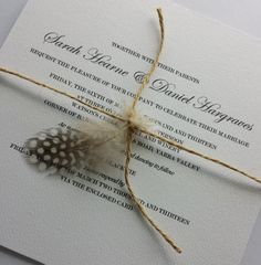 Rustic Wedding Invitation Feather and Twine by MorethanPaperAU, $10.00