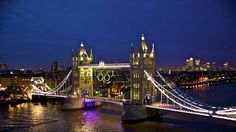 London 2012 Olympics - Tower Bridge, featuring a giant set of Olympic Rings, looks spectacular at night