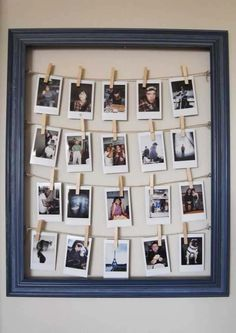 DIY Framed Clothesline Photo Display