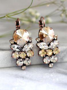 Champagne Earrings   Bridal Champagne Swarovski Earrings By Ilona Rubin On Etsy http://etsy.me/1Ron6L8