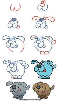 Cute Easy Drawings, Art Drawings For Kids, Doodle Drawings, Drawing For Kids, Cartoon Drawings, Animal Drawings, Art For Kids, Drawing Lessons, Drawing Techniques
