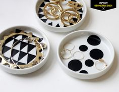 Just scored 20 of these dishes at Crate and Barrel on the cheap! MY DIY | Geometric Jewelry Dish - I Spy DIY