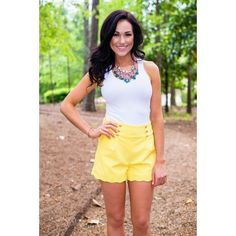 High Waist Button Shorts (Yellow) Enter the code FASHION under 'view cart' before checkout for a discount! Nightwear Online, Online Lingerie, Short Outfits, Short Dresses, Cute Outfits, Premium Brands, Yellow Shorts, Dress To Impress, Buttons