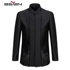 Luxury Traditional Pattern Embroidery Mandarin Collar Men Suit Jacket Male Black Coat Blazer