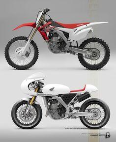 Racing Cafè: Cafè Racer Concepts - Honda CRF 450 Cafè Racer by Petit Motorcycle Creation for Panda Moto