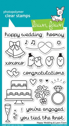 Wish someone you love a happy wedding with this collection of 25 clear stamps. This set features cute love birds, a wedding cake, engagement ring, bouquet of fl