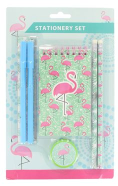 Flamingo 7 Piece Stationary Set With Notepad, Ruler, Pens, Pencils & Sharpener | eBay