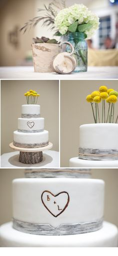 simple, rustic, modern wedding cake  no stems on the flowers though, i love this!