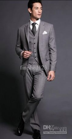 Wholesale Grey Groom Tuxedos Wedding Groomsman/Bridegroom Best man Suit (JacketPantsTieVest) GBFF:6, Free shipping, $98.1-136.85/Piece | DHgate