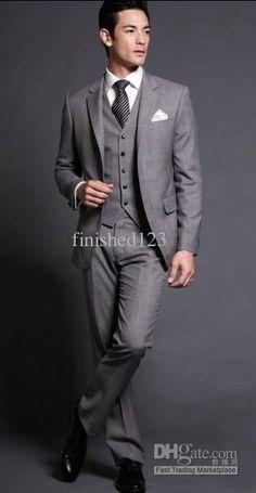 Wholesale Grey Groom Tuxedos Wedding Groomsman/Bridegroom Best man Suit (JacketPantsTieVest) GBFF:6, Free shipping, $98.1-136.85/Piece | DHgate