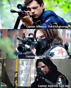Another favourite character in Captain America ( the 2 in my top is The Winder Soldier or Bucky. Play by the unique Sebastian Stan. He is so cool with the weapon in Captain America movies Dc Memes, Marvel Memes, Marvel Dc Comics, Marvel Avengers, Avengers Memes, Bucky Barnes, Sebastian Stan, Captain America And Bucky, Capt America