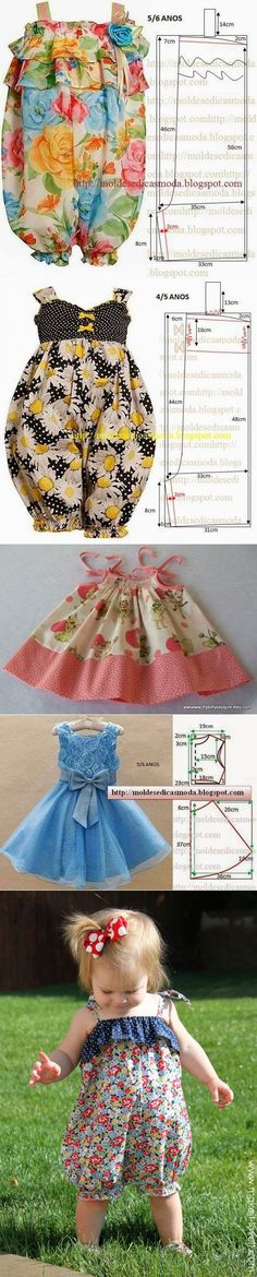La ropa hermosa y práctica para las pequeñas princesas — la Costura // Айгуль Мустафина Girl Dress Patterns, Doll Clothes Patterns, Sewing Clothes, Clothing Patterns, Diy Clothes, Little Girl Dresses, Girls Dresses, Baby Sewing, Baby Dress