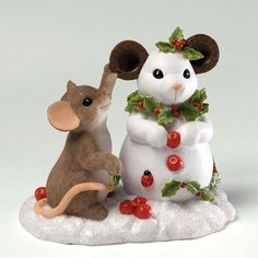 Charming Tales Mouse Figurine- Decorating Snowmouse $25.00