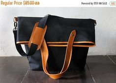 SUMMER SALES Black  waxed canvas messenger  tote bag  waxed