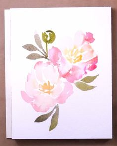 Learn how to paint loose watercolor peonies in this tutorial perfect for beginners just starting out! Learn how to paint loose watercolor peonies in this tutorial perfect for beginners just starting out! Watercolor Flowers Tutorial, Easy Watercolor, Watercolor Cards, Watercolor Illustration, Floral Watercolor, Simple Watercolor Flowers, Watercolor Flower Wreath, Abstract Watercolor Art, Drawing Flowers