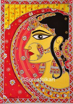 A beautiful Indian Princess inspired by Rajput Princesses from Rajasthan, India Traditional Madhuba Madhubani Paintings Peacock, Kalamkari Painting, Madhubani Art, Indian Art Paintings, Buddha Kunst, Buddha Art, Indian Wall Decor, Wall Art Decor, Original Art
