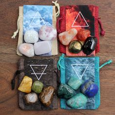 Element Crystal Sets by Stone & Violet Crystals And Gemstones, Stones And Crystals, 4 Elements, Elements Of Nature, Earth Air Fire Water, Elemental Magic, Elemental Powers, Crystal Aesthetic, Fire Element