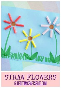 Use plastic straws and tacky glue to make flowers with ease!  Find more simple Kid Craft Tutorials on Glued To My Crafts