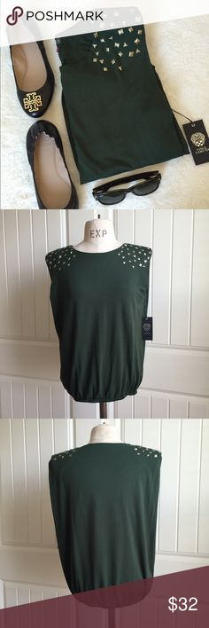 $1650% offArmy Green Studded Top Army green, gold studs, elastic bottom band. Vince Camuto Tops