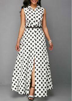 Rosewe Women Dress Shirt White Polka Dot Button Up Sleeveless Maxi Button Up Keyhole Back Dot Print Dress African Fashion Dresses, African Dress, Fashion Outfits, Button Up Maxi Dress, Dot Dress, Dress Shirt, Frack, Western Dresses, Casual Dresses