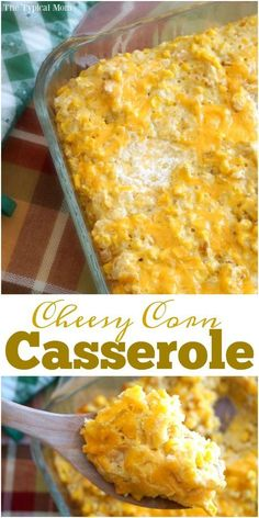 Cream corn casserole recipe that's super easy to make. Our all time favorite cheesy corn casserole we have every year as a Thanksgiving side dish. via /thetypicalmom/