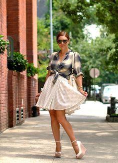 tied plaid shirt, a line polka dot skirt, white wedges