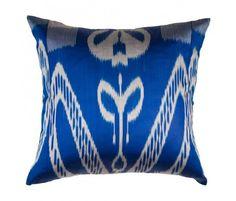 Azure Silk Ikat Pillow (great colour)
