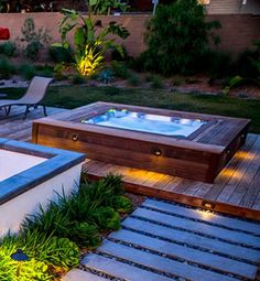 A private courtyard with a whirlpool tub for two, located off the Master Suite /. - New Ideas - A private courtyard with a whirlpool tub for two, located off the Master Suite /… – New Ideas - Jacuzzi Hot Tub, Outdoor Bathtub, Hot Tub Garden, Hot Tub Backyard, Backyard Pool Landscaping, Outdoor Spa, Backyard Patio Designs, Sunken Hot Tub, Whirlpool Deck
