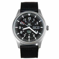 Seiko Men's SNZG15 Seiko 5 Automatic Black Dial Nylon Strap Watch | eBay