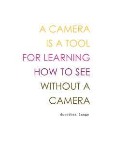 A camera is a tool for learning how to see without a camera. – Dorothea Lange #photography #quote #truth #iphoneography #ad #lyve *Love this quote. Saving tips for later.
