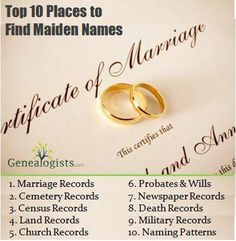 how to find a maiden name of a person
