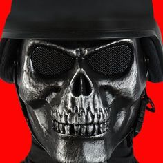 Airsoft Military Skull Facemask All Black - BK2346