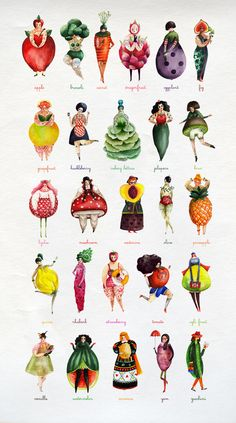 The Girlyveggiefruit Alphabet by Aitch- Amazing illustration Art And Illustration, Food Illustrations, Desenho Kids, Art Postal, Alphabet Print, Alphabet Design, Graphic, Art Inspo, Illustrators