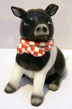 Nice pig Vintage Black and White Pig Cookie Jar
