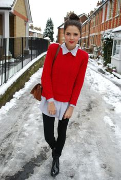 Buttoned up shirt & jumper - a reminder to make a red pullover and wear with a classic button up shirt